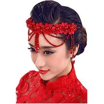 Flower Rhinestones Beads Bridal Wedding Lace Headband Hair Accessories, D