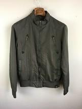 Americanino Mens Jacket M Medium Gray Houndstooth Full Zip Cafe Racer Moto - $29.69