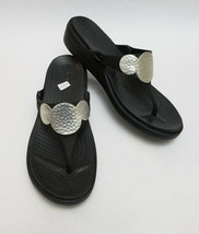Crocs Shoes Black Wedge Flip Flops Thong Embellished Hammered Circles Size 9 - $34.60