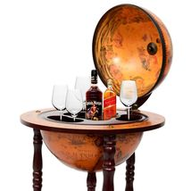 "36"" Wood Globe Wine Bar Stand 16th Century Italian Rack Liquor Bottle Shelf - $116.99"