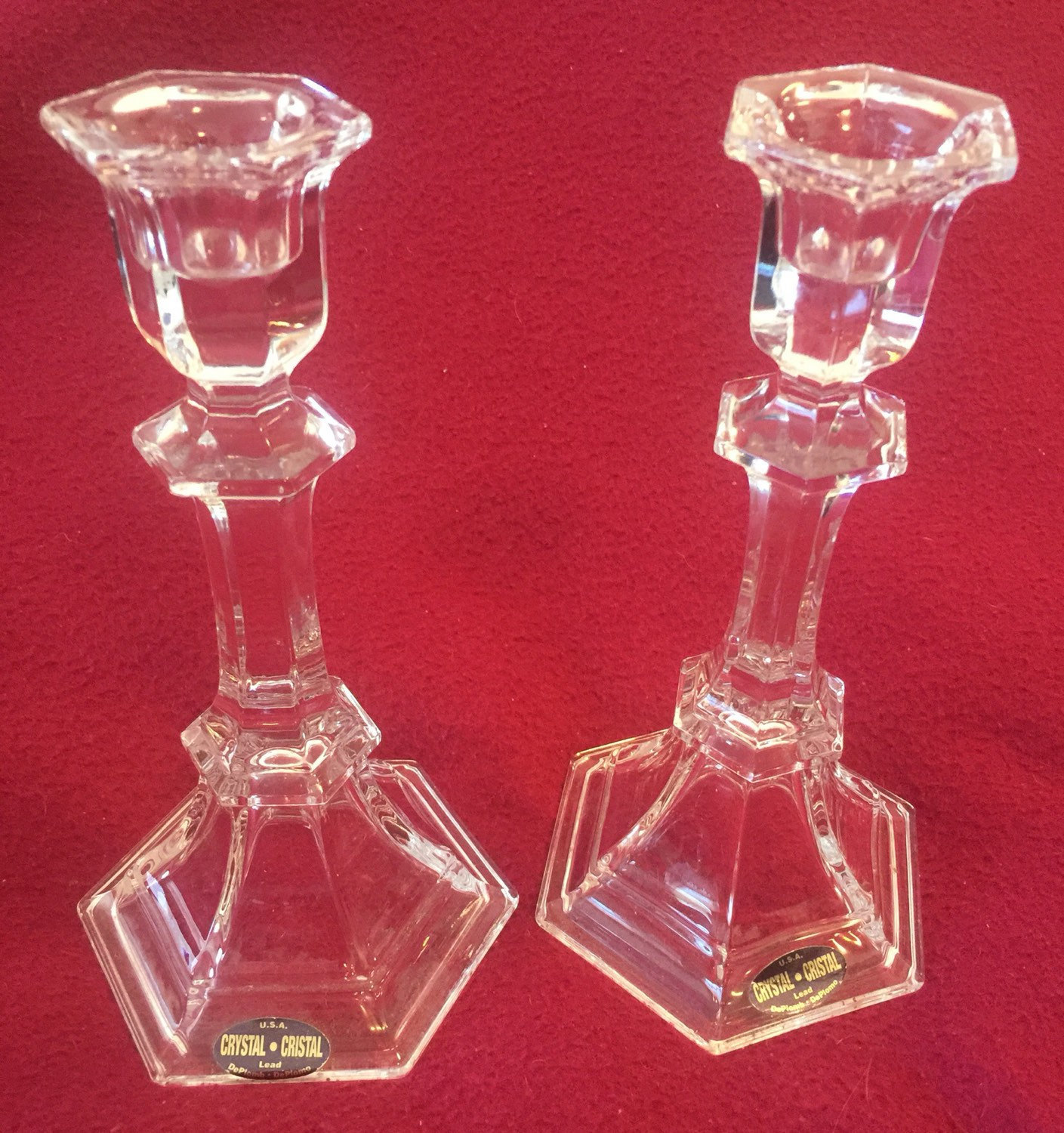 Primary image for Crystal Cristal Candlestick Pair by Deplomb Deplomo Italy 1980s