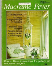 MACRAME FEVER 1977 pattern book 12 hanging designs lamps tables wall han... - $13.10