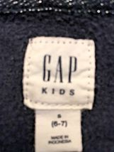 Girl's Gap Kids Zippered Hooded Navy Sweatshirt/Jacket With Lavender Logo (S) image 7