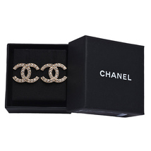 100% AUTH NEW CHANEL 2019 XL Large Gold CC Crystal Stud Earrings image 3