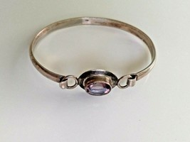 Sterling Silver Bracelet with Purple Stone Marked 925 Vintage Hook Clasp - $48.00