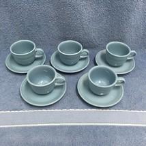 Fiestaware Periwinkle Teacup and Saucer Set of Five Fiesta Homer Laughli... - $28.04