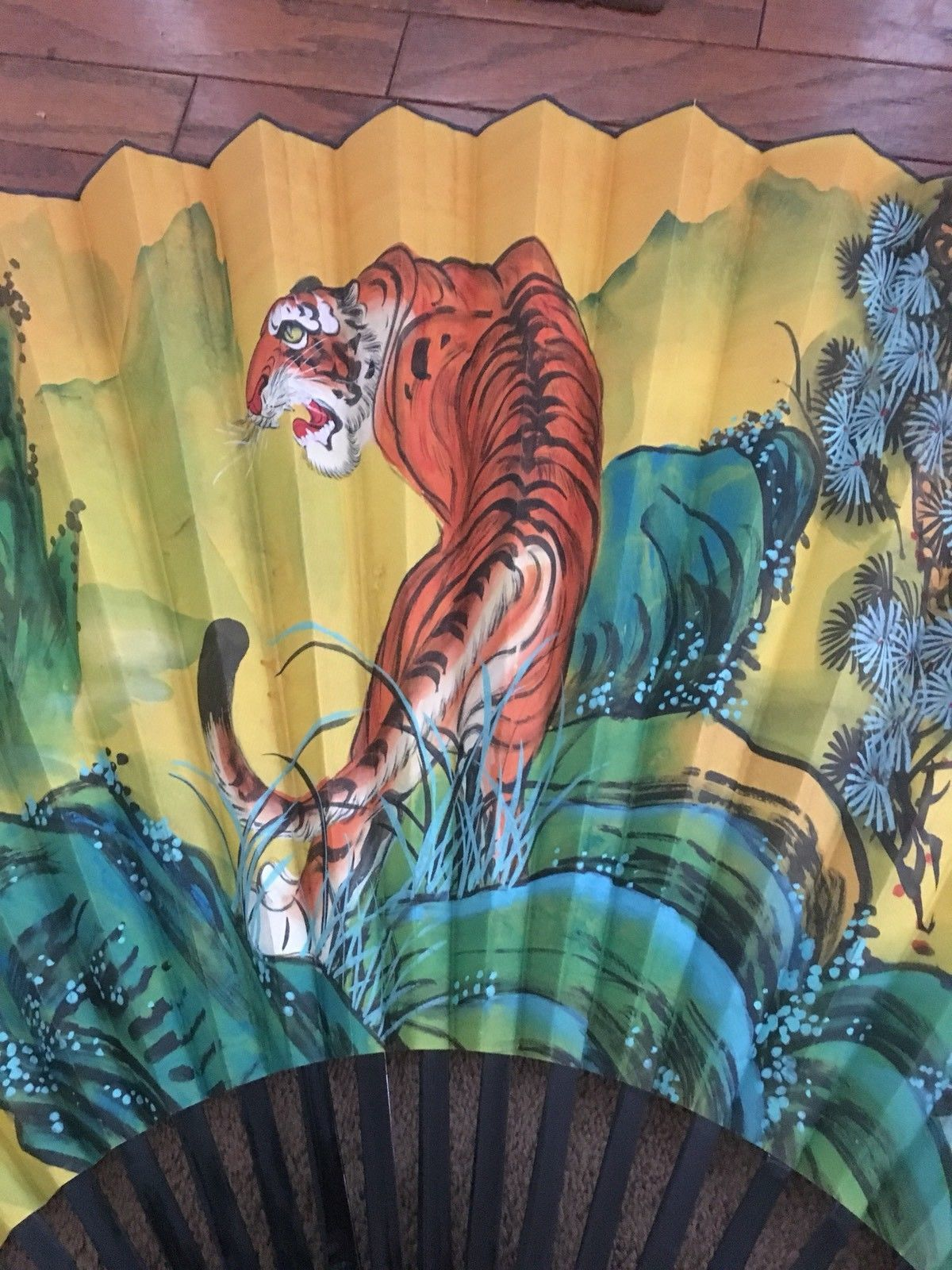 09fb7606a Vintage SIGNED Large Chinese Wall Fan - HP Tiger in Jungle Setting - 70