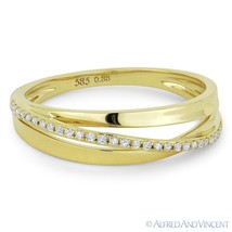 0.09 ct Diamond Right-Hand Overlap Loop Stackable Ring / Band in 14k Yel... - $365.99