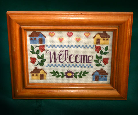 Vint crossstitch welcome