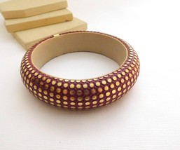 Vintage New Old Stock 1980s India Made Red Gold Chunky Boho Bangle Bracelet ZZ image 2