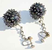 vintage black ball sequin earrings disco screw drop dangle - $14.10