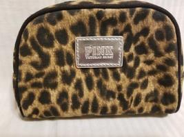 VS Victoria's Secret PINK Cosmetic Bag Lepoard Print EUC - $13.99