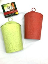 Lot Of 2 Hanging metal planters floral container red green craft supply  - $29.70
