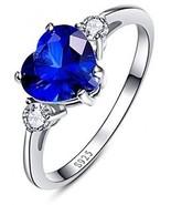 BONLAVIE Women's Created Blue Sapphire 925 Sterling Silver Heart Promis... - $47.95