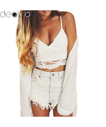 Vintage Lace Camisole Bandage Backless Top 2017 Summer Fashion Women Cro... - $10.00