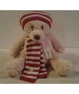"""1987 Plush 14"""" AEROPOSTALE Bear with knit red & white scarf & hat & gift... - $14.84"""