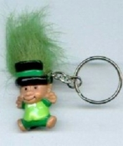 LEPRECHAUN TROLL KEYCHAIN-Lucky Charm Gnome Funky Jewelry-DK GRN - $6.97