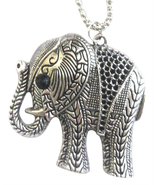 Elephant Pendant Long Necklace Silver NEW Jewelry - $9.95