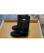 WOMENS BLACK SHEARLING LINED SUEDE COACH BOOTS - SIZE 8.5B - $250.00