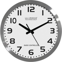 La Crosse Technology WT-3161WH 16 Brushed-Metal Atomic Wall Clock - $64.53