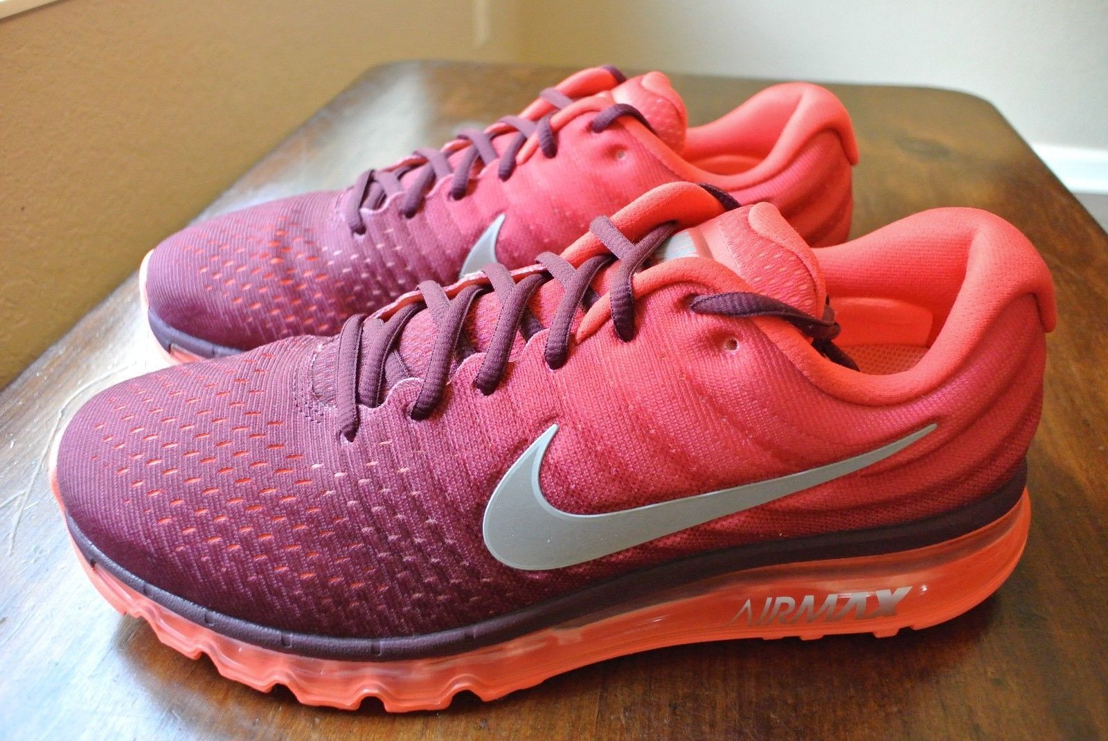 Nike Men's Shoes Air Max 2017 Running SNEAKERS Maroon Red