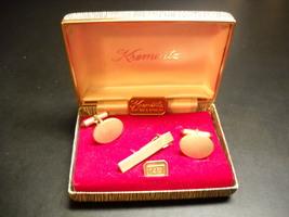 Krementz Cuff Links Tie Bar Oval Amber 14 Kt Gold Overlay in Presentation Box - $29.99