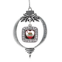 Inspired Silver California Heart Flag Classic Holiday Christmas Tree Ornament Wi - $14.69