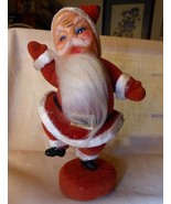 1950's Large Happy Dancing Santa on Stand Hard Plastic Face Flocked - $20.00