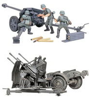 2 Tamiya German Models - 75 mm Pak 40/L46 and 20 mm Quad Flak (Flakvierl... - $32.66