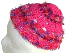 Bright Pink Crochet Beanie Hat - $11.80