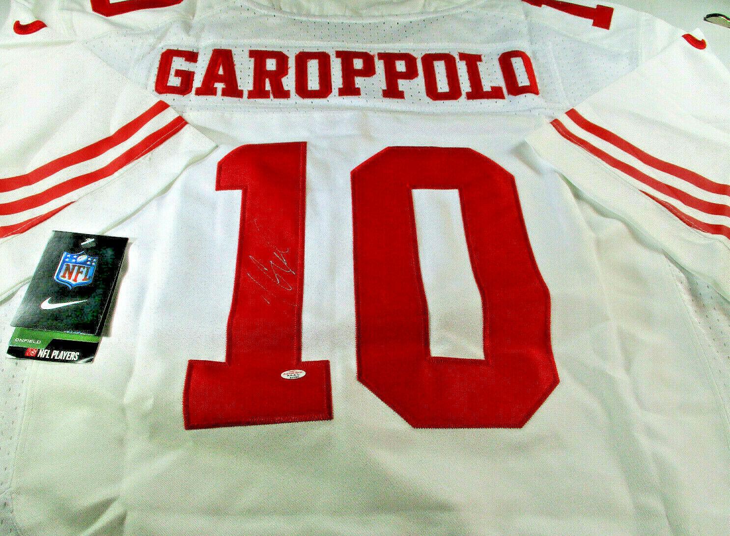 JIMMY GAROPPOLO / AUTOGRAPHED SAN FRANCISCO 49ERS PRO STYLE FOOTBALL JERSEY COA