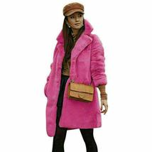 Women's Trendy Pink Thicken Faux Fur Lapel Parka Collar Jacket Winter Coat image 8