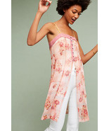 NWT Anthropologie FEATHER BONE Pink Floral Everly Long Tank Dress size 1... - $52.50