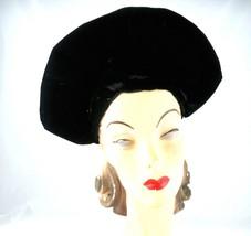 Vintage Ladies Picture Hat Black Velvet Early 1940s Size 22 - $35.00