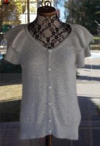 Gorgeous Short Sleeve Layered Angora Blend Gray Sweater Top Sz. 12 - $24.74