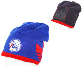 ADIDAS PHILADELPHIA 76ERS - BLUE/BLACK BEANIE REVERSIBLE CAP NBA BASKETB... - $17.88