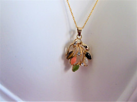 Semi Precious Leaves Pendant Necklace GF Chain Rhinestones Leaves Elegant Gems - $42.00