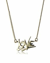 "New Fragments Shiny Gold Plated ""Love"" Pendant 16"" Necklace + 2"" Extender NWT"