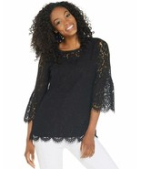 Isaac Mizrahi Live! Plus 1X Floral Lace 3/4 Bell Sleeve Tunic Shirt Black - $24.99