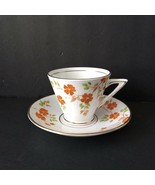 Vintage Phoenix China Tea Cup Saucer Flowers Orange Made in England Hand... - $18.55