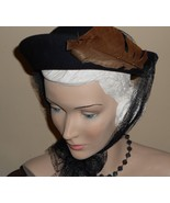 Vtg 30s 40s Hat WWII Navy Blue Wool Upturned Brim Feathers Long French N... - $85.00