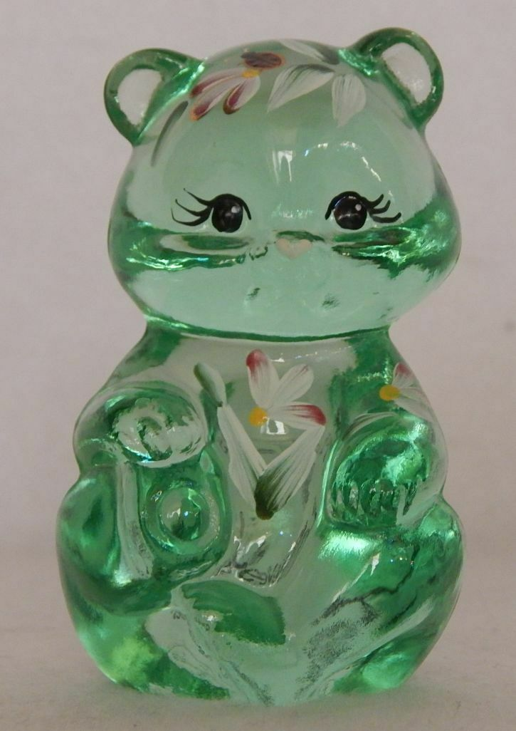 Fenton Green Bear Hand Painted Flowers Friends Forever Heart on Nose Signed EUC - $44.99