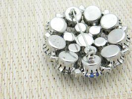 Blue Aurora Borealis Rhinestone Silver Tone Pin Brooch Vintage image 4