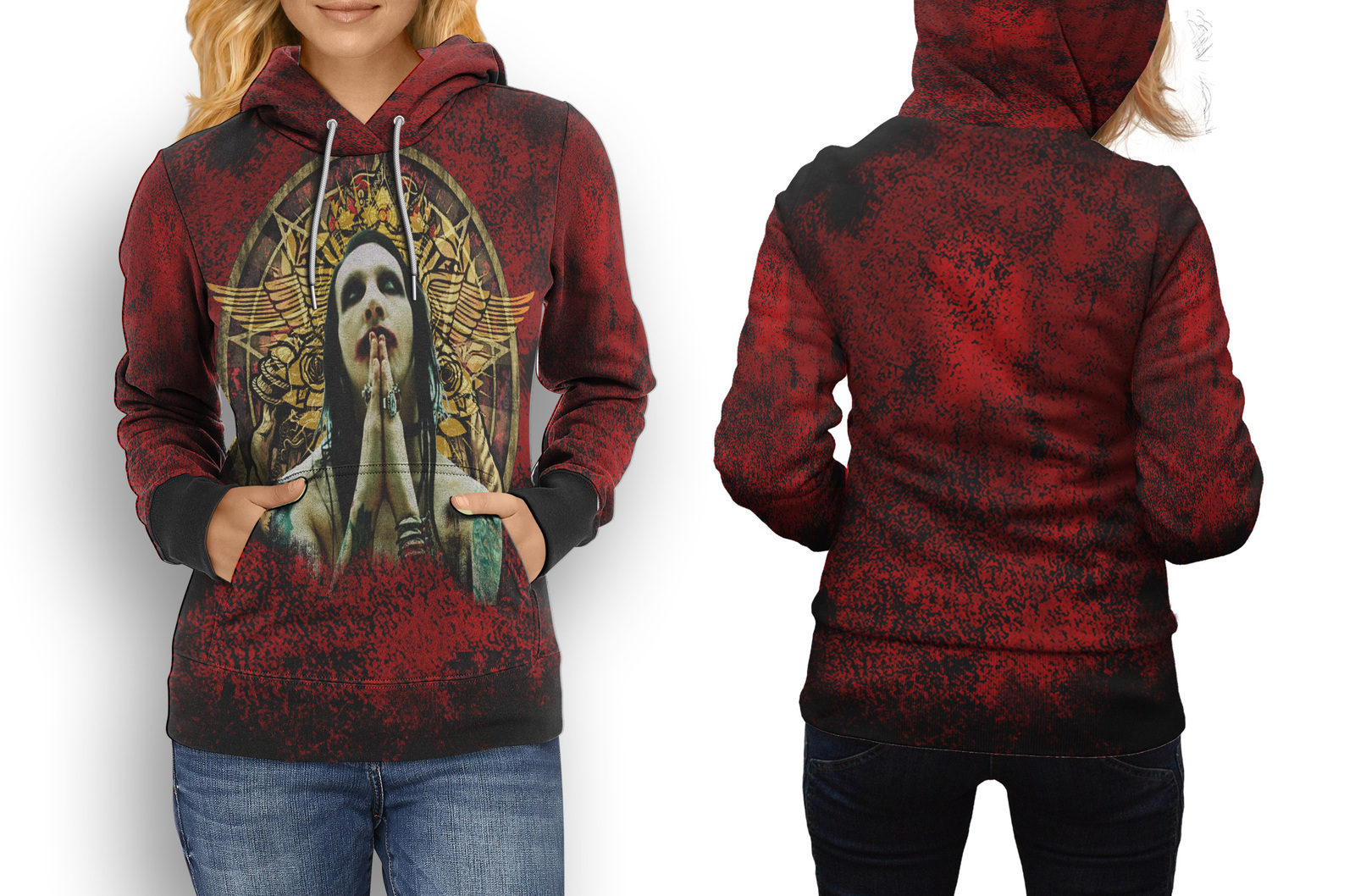 Rare new marilyn manson red hoodie women s