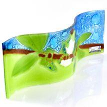 Fused Art Glass Red Eyed Green Tree Frog Wavy Decor Piece Handmade Ecuador image 3