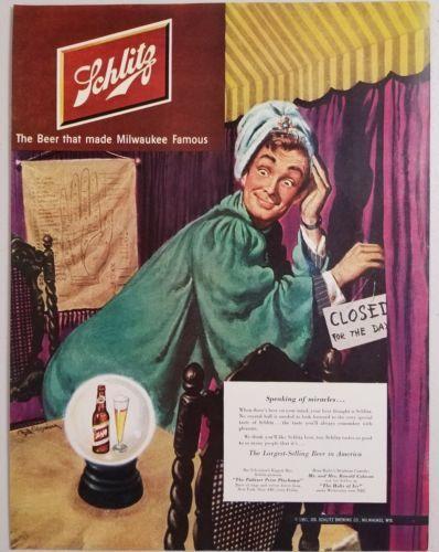1951 Print Ad Schlitz Beer Fortune Teller Man Sees Beer in Crystal Ball