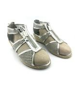 MICHAEL KORS Cate Jill Silver Chrome Damita Wedge Sandals Women Sz 4.5 -... - $46.37