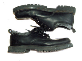 Vintage 1990s Skechers Mens 12 Leather Chunky Heel Tread Below Ankle Boots Shoes - $29.68