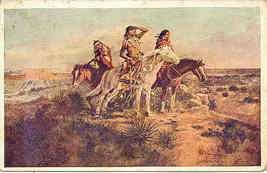 The Indian Scouts Charles Russell vintage 1908 Post Card - $25.00