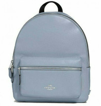 Coach F30550 Medium Charlie Backpack Steel Blue Pebbled Leather Retail - $184.73